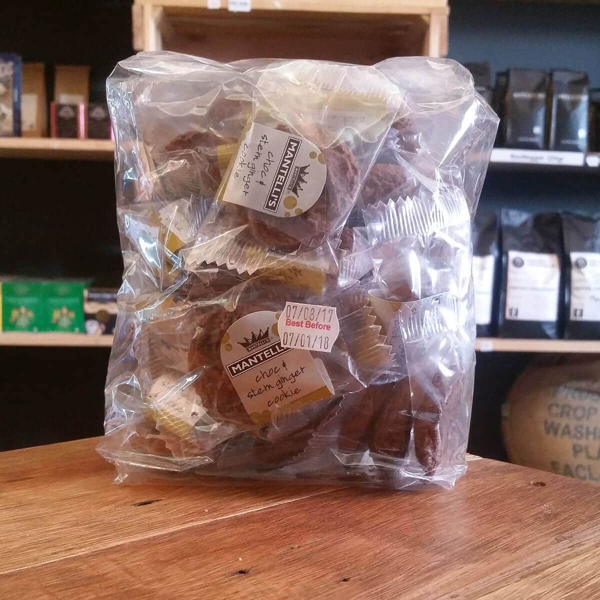 Mantelli's Choc & Stem Ginger Cookies (40 x 10g)